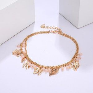 3/$20 New Gold Double Layer Leaf Bead Bracelet